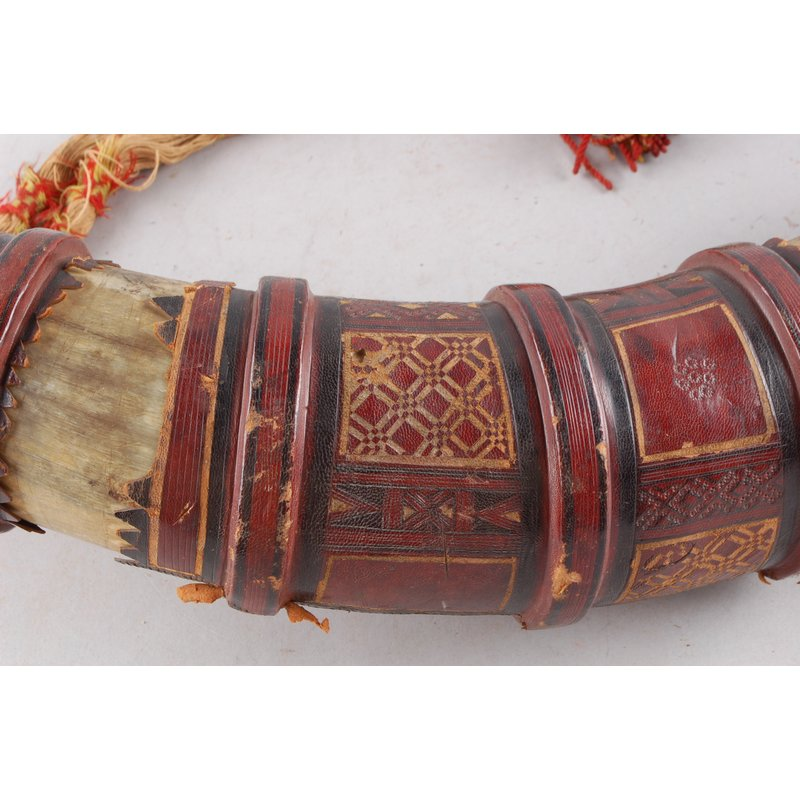 Tooled Leather Horn